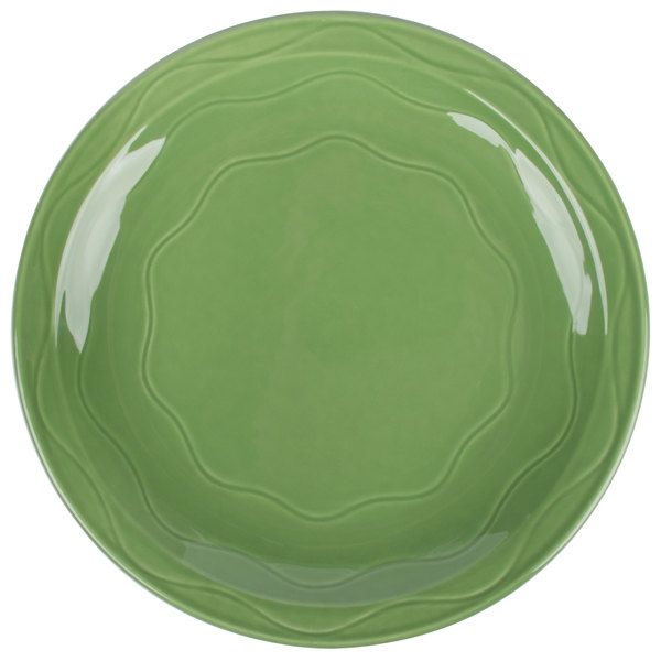 "Syracuse China 903035002 Cantina 11 1/4"" Sage Carved Round Porcelain Plate - 12/Case"