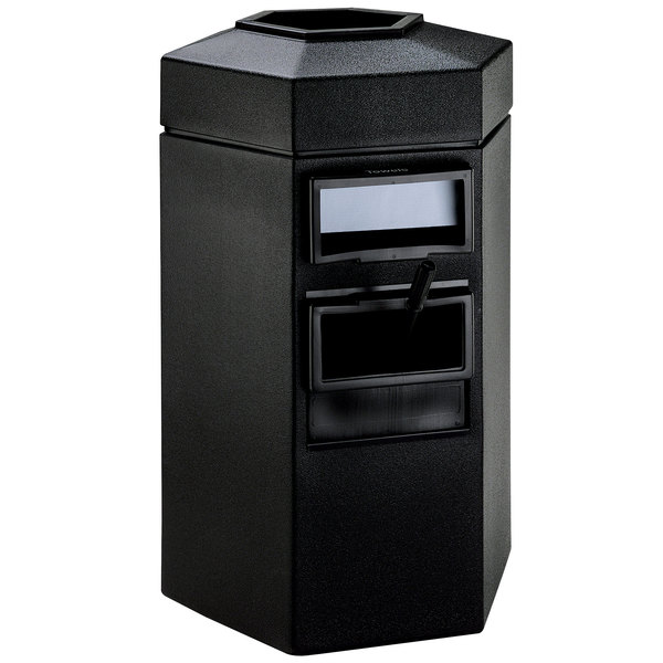 Commercial Zone 755301 45 Gallon Islander Series Black Bermuda 1 Hexagonal Waste Container with Paper Towel Dispenser, Squeegee, and Windshield Wash Station Main Image 1