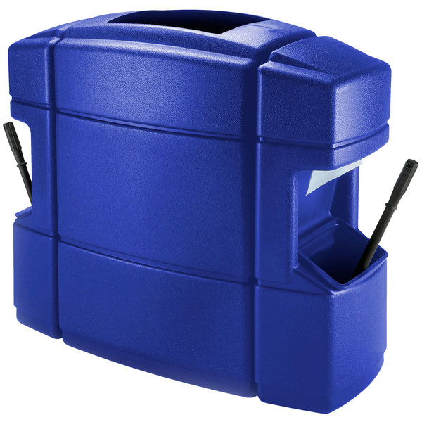 Commercial Zone 758704 40 Gallon Islander Series Waste 'N Wipe Blue Waste Container with 2 Paper Towel Dispensers, 2 Squeegees, and 2 Windshield Wash Stations Main Image 1