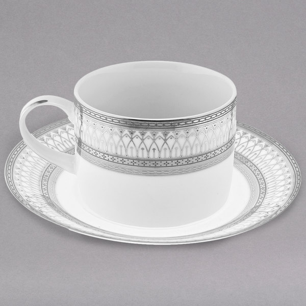 10 Strawberry Street IRIANA-9SLV Iriana 8 oz. Silver Porcelain Can Cup with Saucer - 24/Case