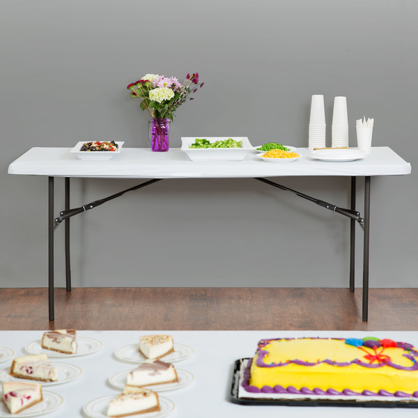 """Creative Converting 37400 Stay Put White 29"""" x 72"""" Rectangular Plastic Tablecloth with Elastic - 12/Case"""
