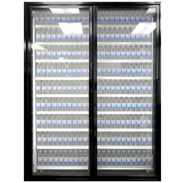 "Styleline ML3075-LT MOD//Line 30"" x 75"" Modular Walk-In Freezer Merchandiser Doors with Shelving - Satin Black Smooth, Left Hinge - 2/Set"