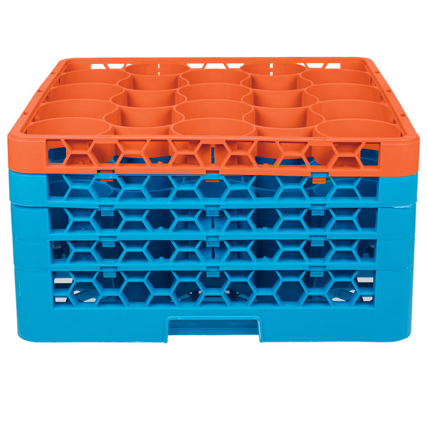 Carlisle RW20-3C412 OptiClean NeWave 20 Compartment Orange Color-Coded Glass Rack with 4 Extenders