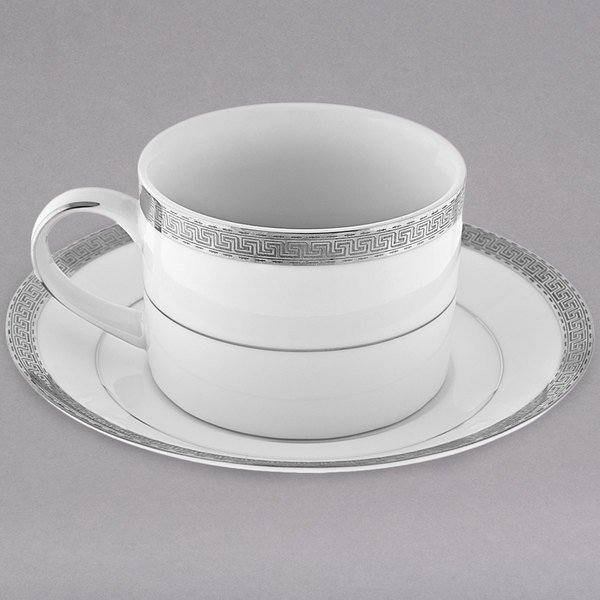 10 Strawberry Street LUX-9P Luxor 8 oz. Platinum Porcelain Cup and Saucer - 24/Case