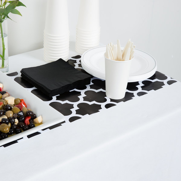 """Creative Converting 317332 14"""" x 84"""" Black and White Plastic Table Runner - 12/Case"""