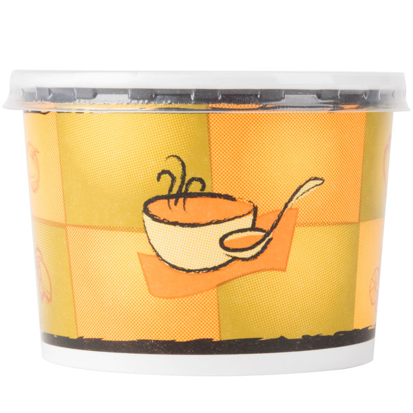 Huhtamaki Chinet 70412 12 oz. Double-Wall Poly Paper Soup / Hot Food Cup with Plastic Lid and Streetside Design - 250/Case