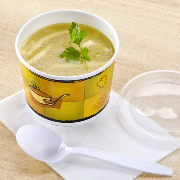 Huhtamaki 70412 Streetside Print 12 oz. Double-Wall Poly Paper Soup / Hot Food Cup with Plastic Lid - 250/Case Main Image 5