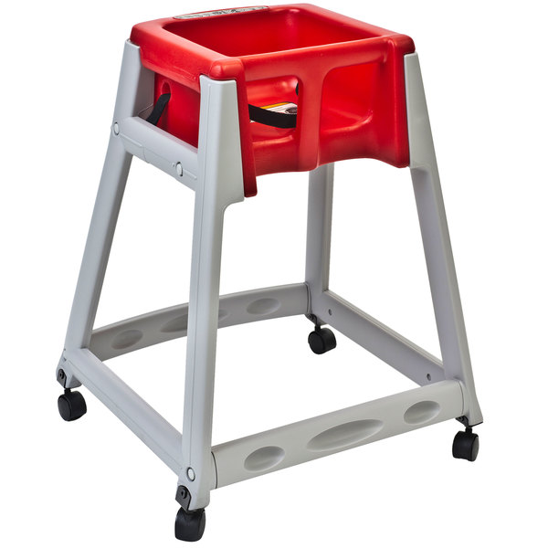 Koala Kare KB877-03W KidSitter Grey Assembled Convertible Plastic High Chair with Red Seat and Casters