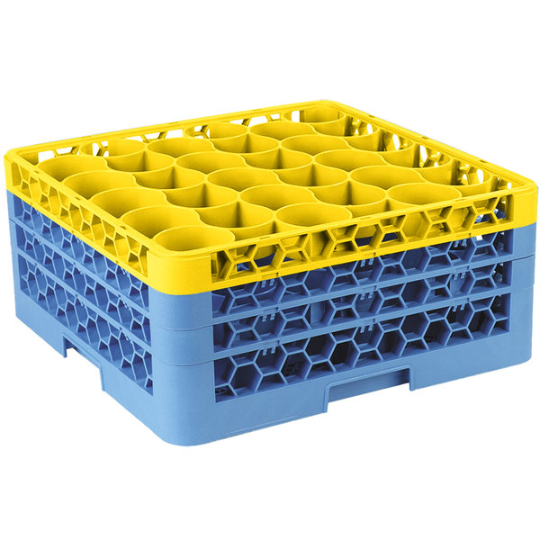 Carlisle RW30-2C411 OptiClean NeWave 30 Compartment Yellow Color-Coded Glass Rack with 3 Extenders