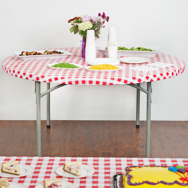 """Creative Converting 37288 Stay Put 60"""" Round Red Gingham Plastic Table Cover - 12/Case"""