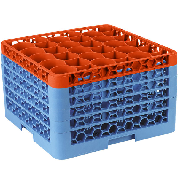Carlisle RW30-4C412 OptiClean NeWave 30 Compartment Orange Color-Coded Glass Rack with 5 Extenders