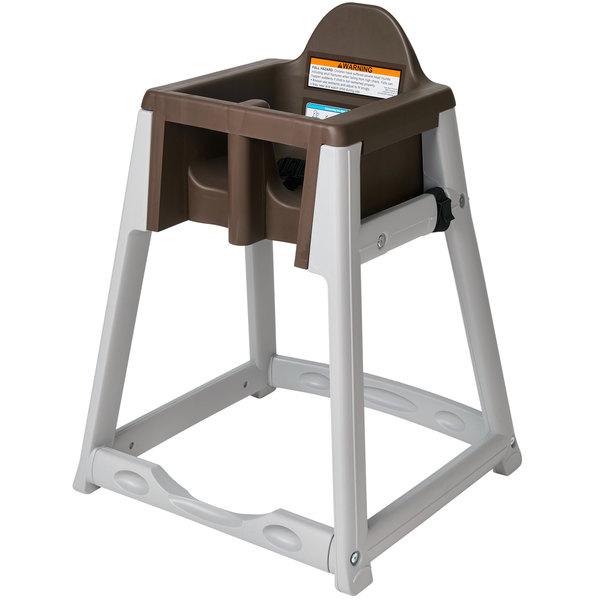 Koala Kare KB977-09 KidSitter Grey Assembled Convertible Plastic High Chair with Brown Seat Main Image 1