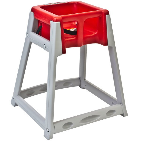 Koala Kare KB877-03 KidSitter Grey Assembled Convertible Plastic High Chair with Red Seat