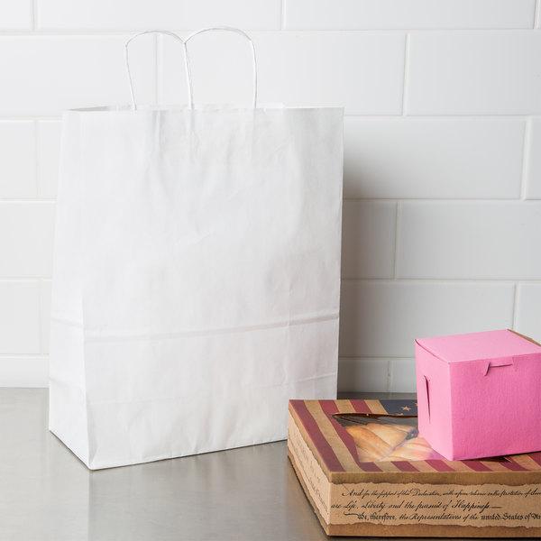 "Duro Traveler 13"" x 6"" x 15 3/4"" White Shopping Bag with Handles - 250/Bundle"