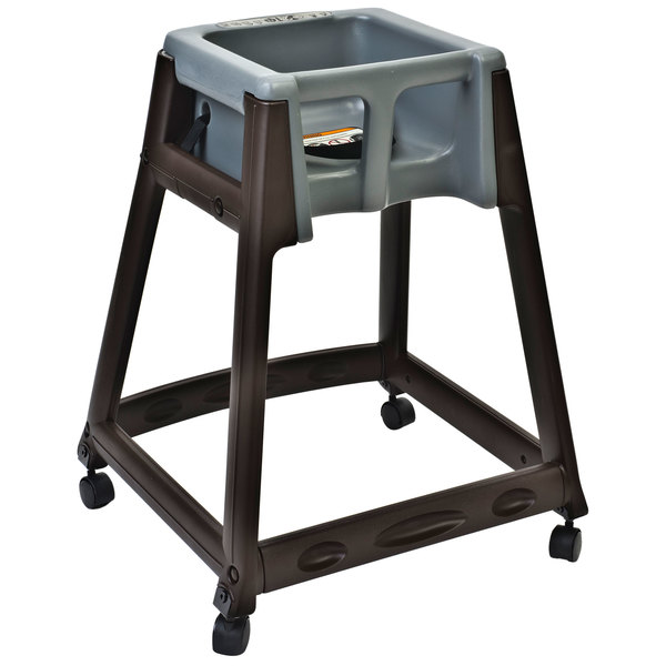 Koala Kare KB866-01W KidSitter Brown Assembled Convertible Plastic High Chair with Grey Seat and Casters