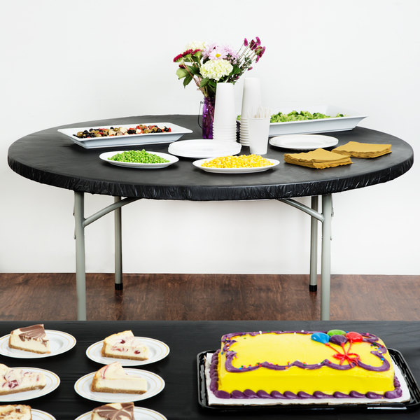 """Creative Converting 703000 Stay Put Black 60"""" Round Plastic Tablecloth with Elastic - 12/Case Main Image 4"""