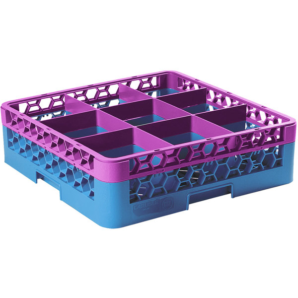 Carlisle RG9-1C414 OptiClean 9 Compartment Lavender Color-Coded Glass Rack with 1 Extender Main Image 1