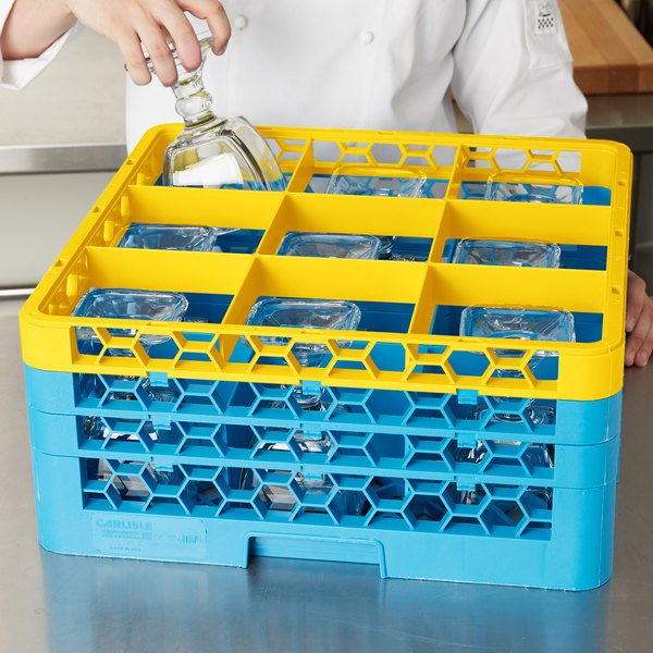 Carlisle RG9-3C411 OptiClean 9 Compartment Yellow Color-Coded Glass Rack with 3 Extenders