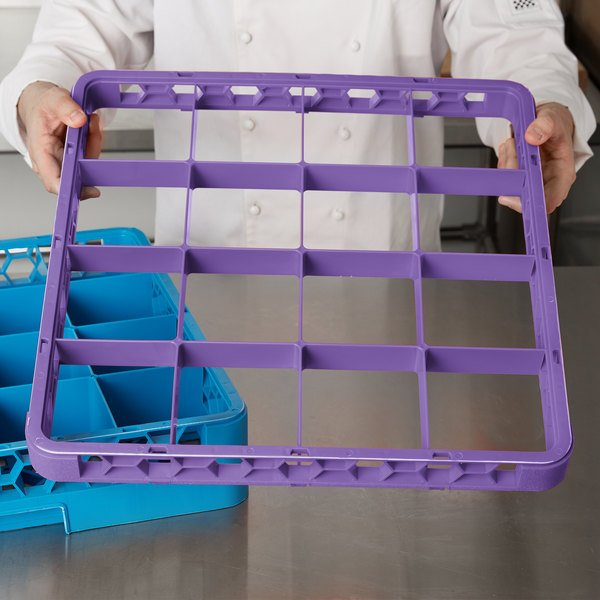 Carlisle RE16C89 OptiClean 16 Compartment Lavender Color-Coded Glass Rack Extender Main Image 9