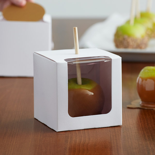 Baker's Mark White 1-Piece Candy Apple Box with Window - 100/Case Main Image 4