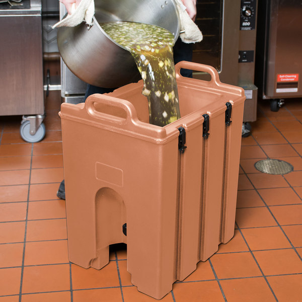 Cambro 100LCDPL157 Camtainer 1.5 Gallon Coffee Beige Insulated Soup Carrier Main Image 10