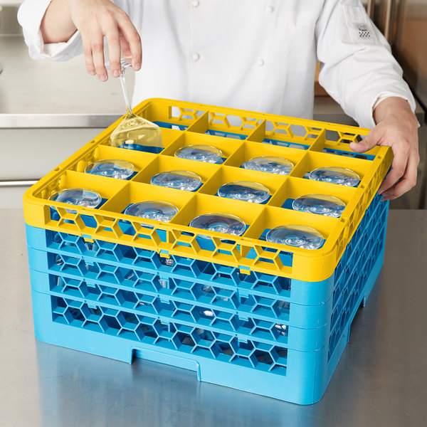 Carlisle RG16-4C411 OptiClean 16 Compartment Yellow Color-Coded Glass Rack with 4 Extenders