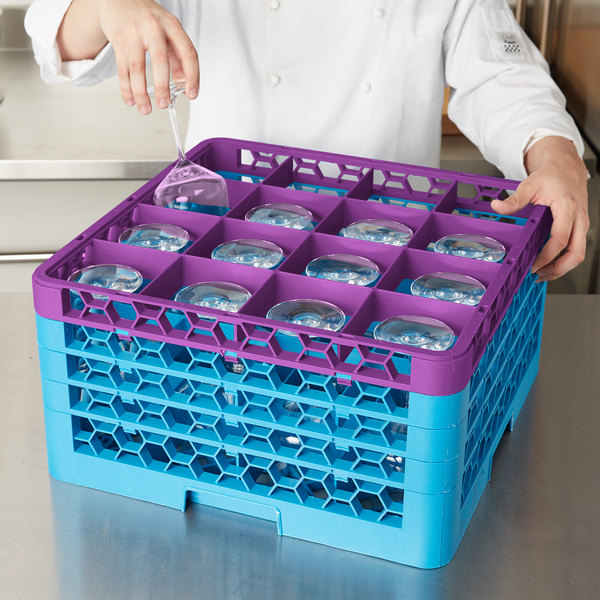 Carlisle RG16-4C414 OptiClean 16 Compartment Lavender Color-Coded Glass Rack with 4 Extenders Main Image 7