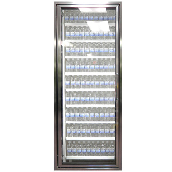 "Styleline CL3072-2020 20//20 Plus 30"" x 72"" Walk-In Cooler Merchandiser Door with Shelving - Anodized Bright Silver, Left Hinge"