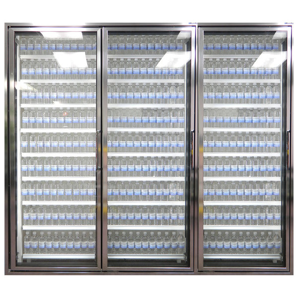 """Styleline CL3072-HH 20//20 Plus 30"""" x 72"""" Walk-In Cooler Merchandiser Doors with Shelving - Anodized Bright Silver, Left Hinge - 3/Set"""