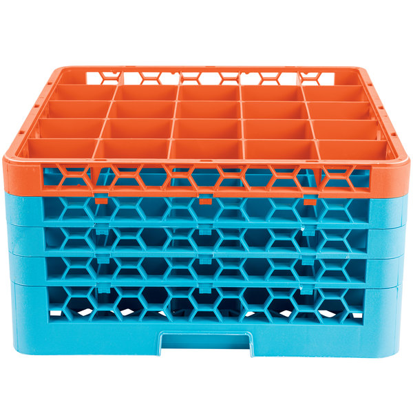 Carlisle RG25-4C412 OptiClean 25 Compartment Orange Color-Coded Glass Rack with 4 Extenders