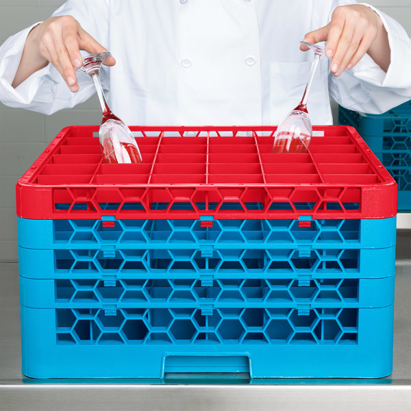 Carlisle RG36-4C410 OptiClean 36 Compartment Red Color-Coded Glass Rack with 4 Extenders Main Image 8