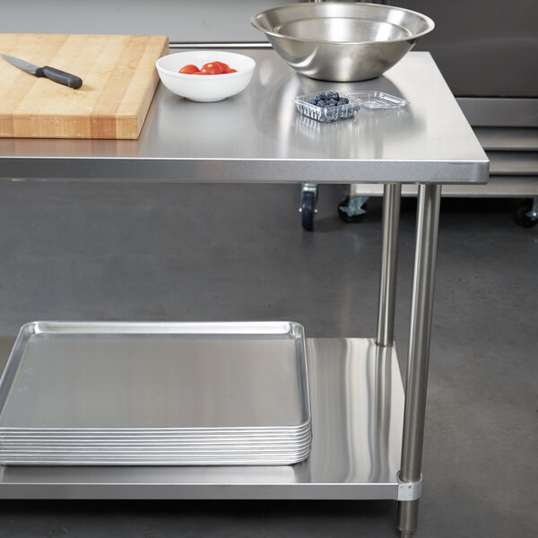 """Regency 30"""" x 72"""" 18-Gauge 304 Stainless Steel Commercial Work Table with Galvanized Legs and Undershelf Main Image 3"""