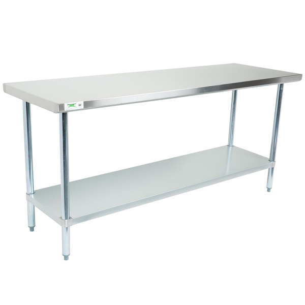 Regency X Gauge Stainless Steel Commercial Work Table - Stainless steel work table with wheels
