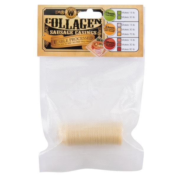 Weston 19-0112-W 33mm Collagen Sausage Casing - Makes 15 lb. Main Image 1