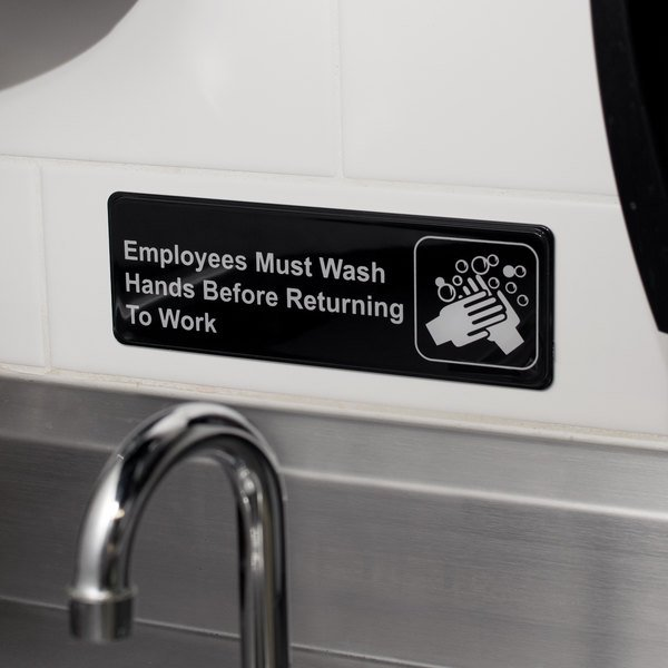 "Employees Must Wash Hands Before Returning to Work Sign - Black and White, 9"" x 3"""