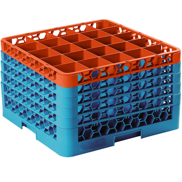 Carlisle RG25-5C412 OptiClean 25 Compartment Orange Color-Coded Glass Rack with 5 Extenders