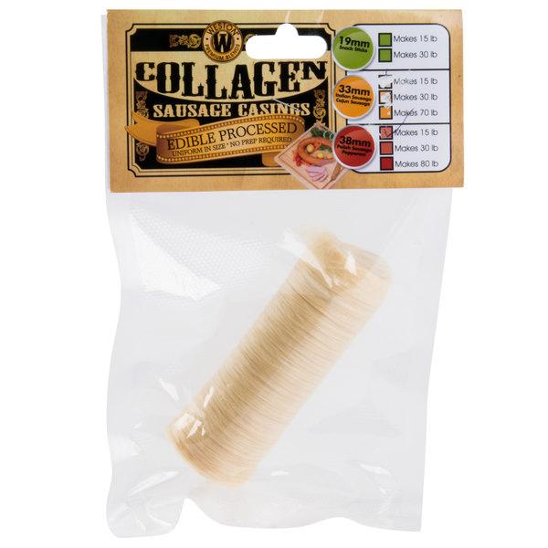 Weston 19-0113-W 38mm Collagen Sausage Casing - Makes 15 lb. Main Image 1
