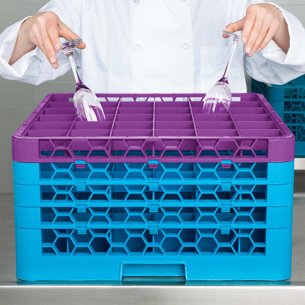 Carlisle RG36-4C414 OptiClean 36 Compartment Lavender Color-Coded Glass Rack with 4 Extenders Main Image 8