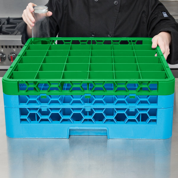 Carlisle RG36-2C413 OptiClean 36 Compartment Green Color-Coded Glass Rack with 2 Extenders Main Image 7