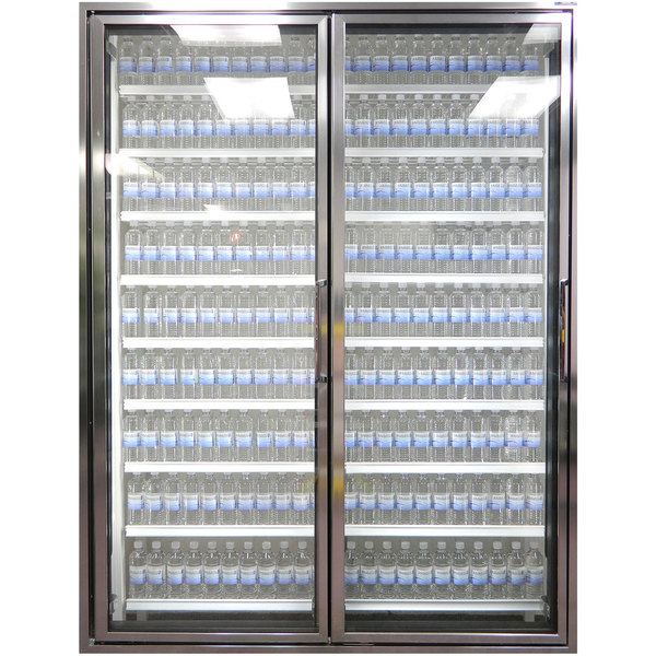 """Styleline CL3072-HH 20//20 Plus 30"""" x 72"""" Walk-In Cooler Merchandiser Doors with Shelving - Anodized Bright Silver, Left Hinge - 2/Set"""