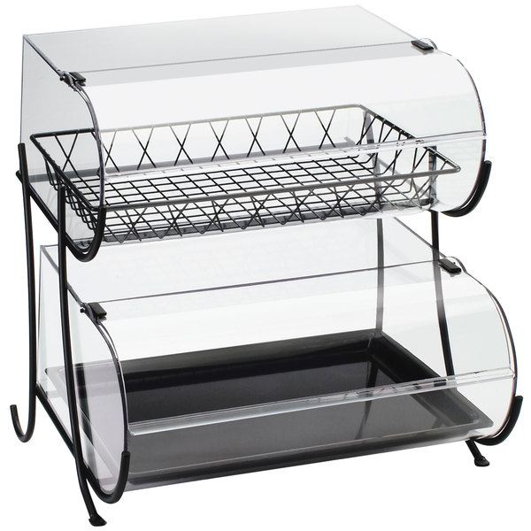 "Cal-Mil 1281-2 Two Tier Wide Black Wire Pastry Display - 20 1/4"" x 19 1/2"" x 20 1/2"""