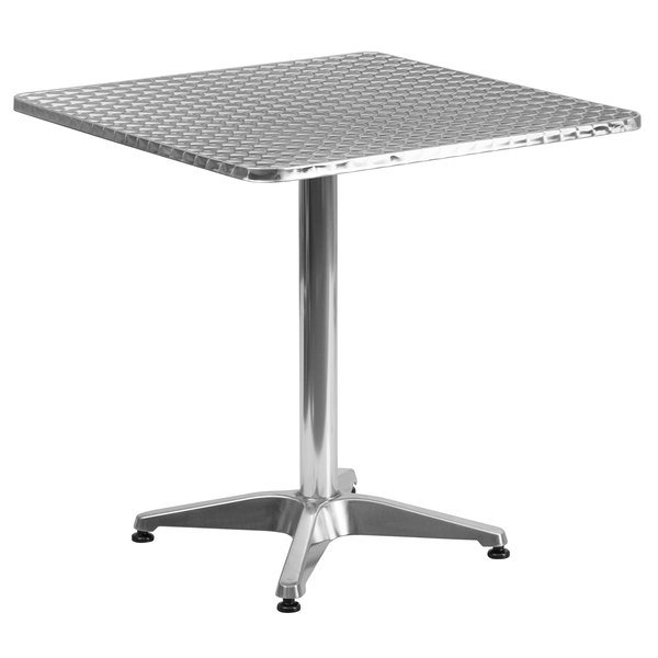 "Flash Furniture TLH-053-2-GG 27 1/2"" Square Aluminum Indoor / Outdoor Table with Base"
