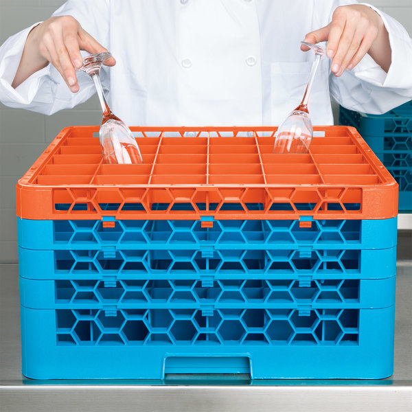 Carlisle RG36-4C412 OptiClean 36 Compartment Orange Color-Coded Glass Rack with 4 Extenders Main Image 8
