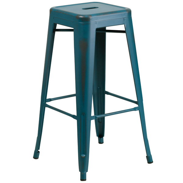 Flash Furniture ET-BT3503-30-KB-GG Distressed Kelly Blue Stackable Metal Bar Height Stool with Drain Hole Seat
