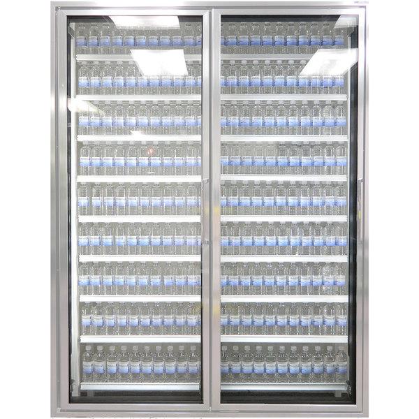 "Styleline CL3072-HH 20//20 Plus 30"" x 72"" Walk-In Cooler Merchandiser Doors with Shelving - Anodized Satin Silver, Left Hinge - 2/Set"