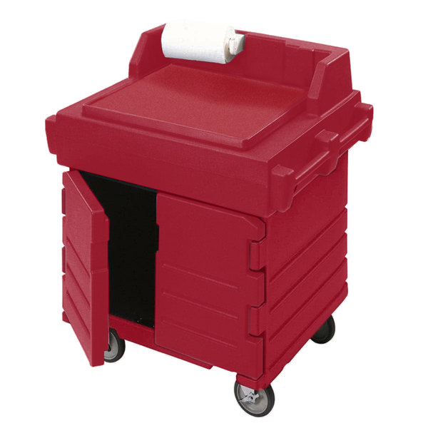 Cambro KWS40158 Hot Red CamKiosk Food Preparation / Counter Work Station Cart Main Image 1