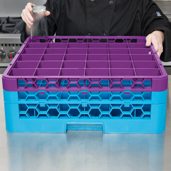 Carlisle RG36-2C414 OptiClean 36 Compartment Lavender Color-Coded Glass Rack with 2 Extenders Main Image 7