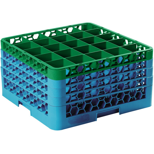 Carlisle RG25-4C413 OptiClean 25 Compartment Green Color-Coded Glass Rack with 4 Extenders