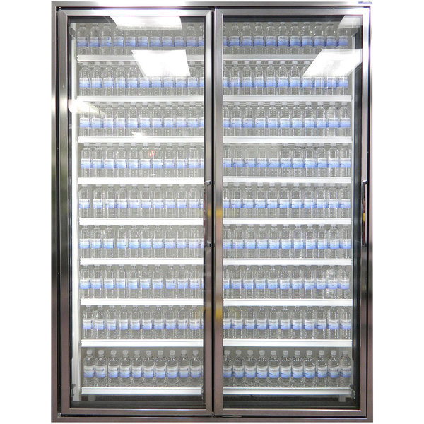 """Styleline CL3080-HH 20//20 Plus 30"""" x 80"""" Walk-In Cooler Merchandiser Doors with Shelving - Anodized Bright Silver, Left Hinge - 2/Set"""