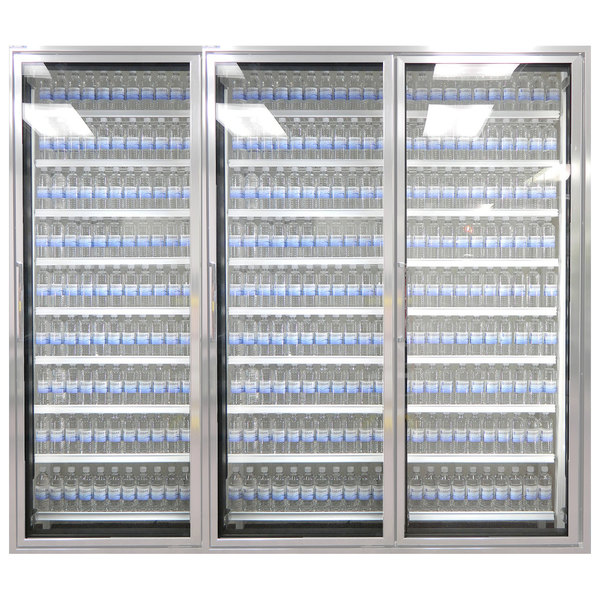 """Styleline CL3080-HH 20//20 Plus 30"""" x 80"""" Walk-In Cooler Merchandiser Doors with Shelving - Anodized Satin Silver, Right Hinge - 3/Set"""